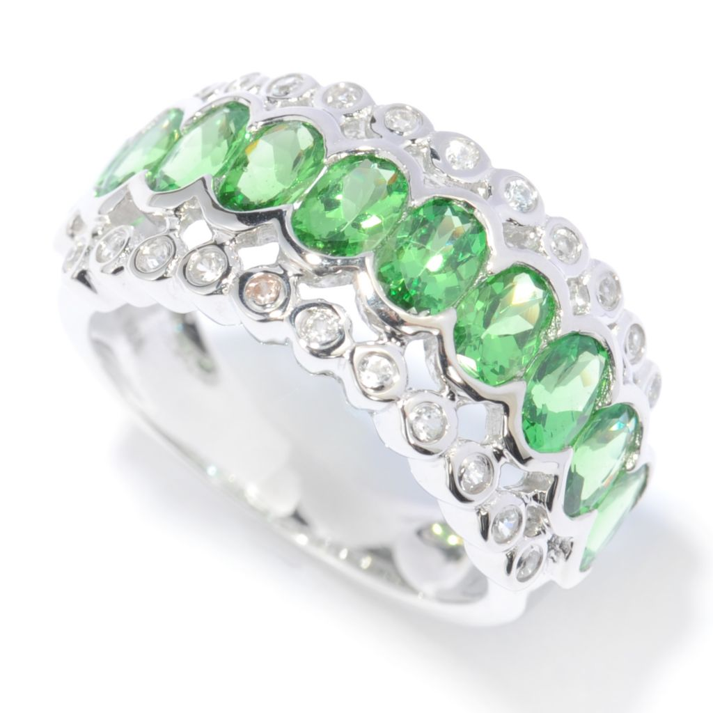 136-927 - Gem Treasures Sterling Silver 2.92ctw Tsavorite & White Zircon Band Ring
