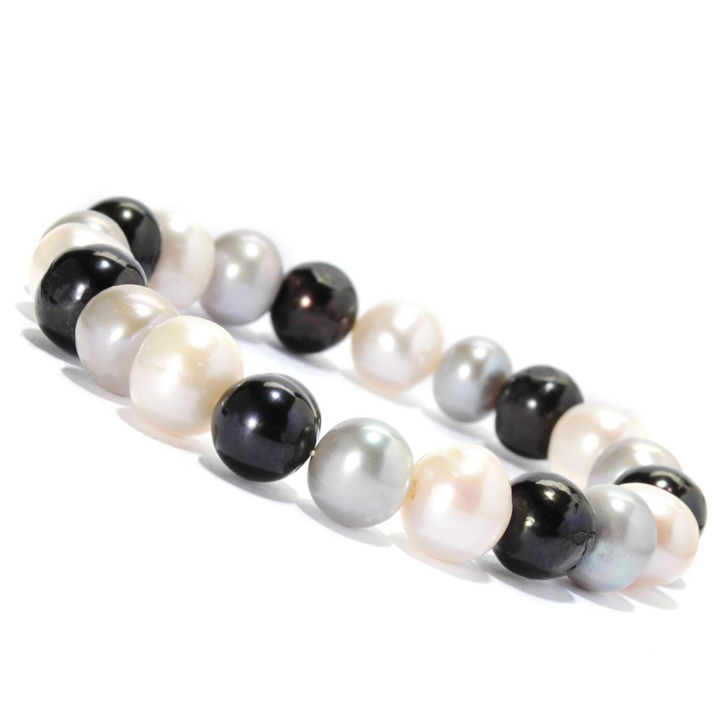 136-928 - 9-10mm White, Black & Grey Freshwater Cultured Pearl Stretch Bracelet
