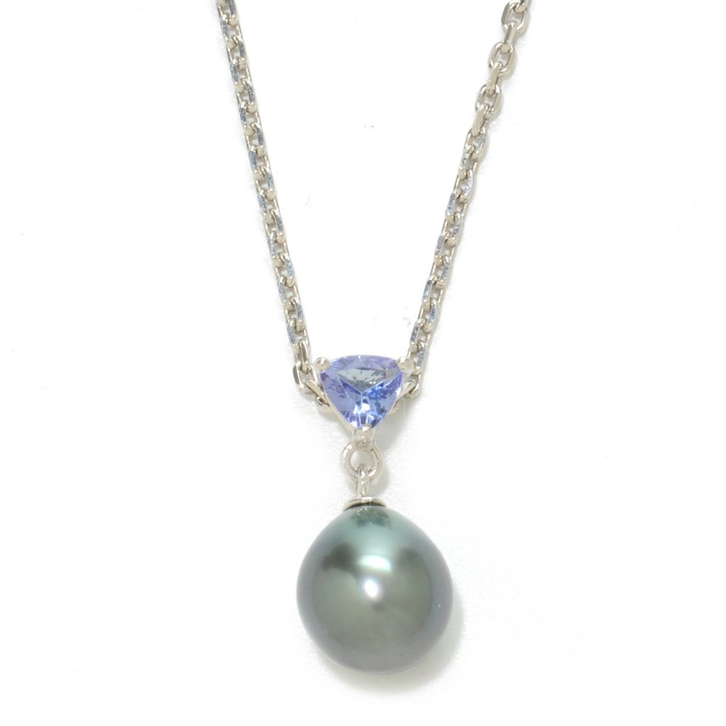"136-930 - Sterling Silver 18"" 9-10mm Cultured Pearl & Trillion Shaped Tanzanite Necklace"