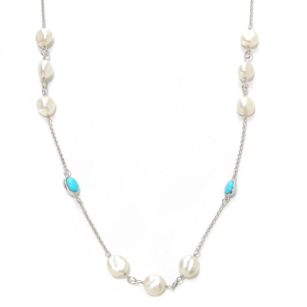 "136-931 - Sterling Silver 36"" 8-9mm Keshi Cultured Pearl & Sleeping Beauty Turquoise Necklace"