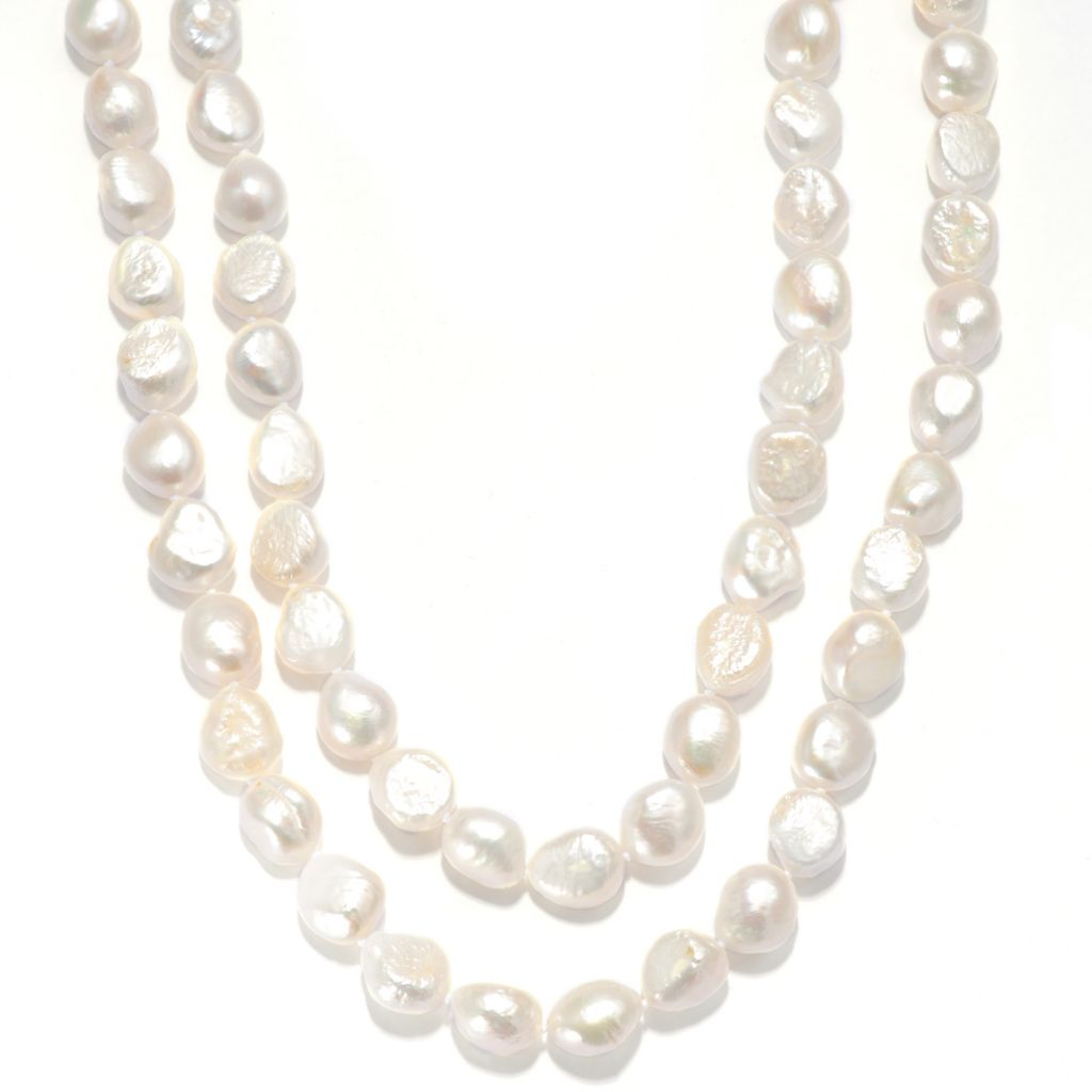 "136-932 - Sterling Silver 52"" 11-13mm Baroque Freshwater Cultured Pearl Necklace"