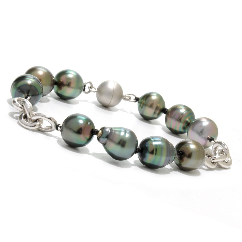 "136-933 - Sterling Silver 8.5"" 11-12mm Black Tahitian Cultured Pearl Bracelet w/ Magnetic Clasp"