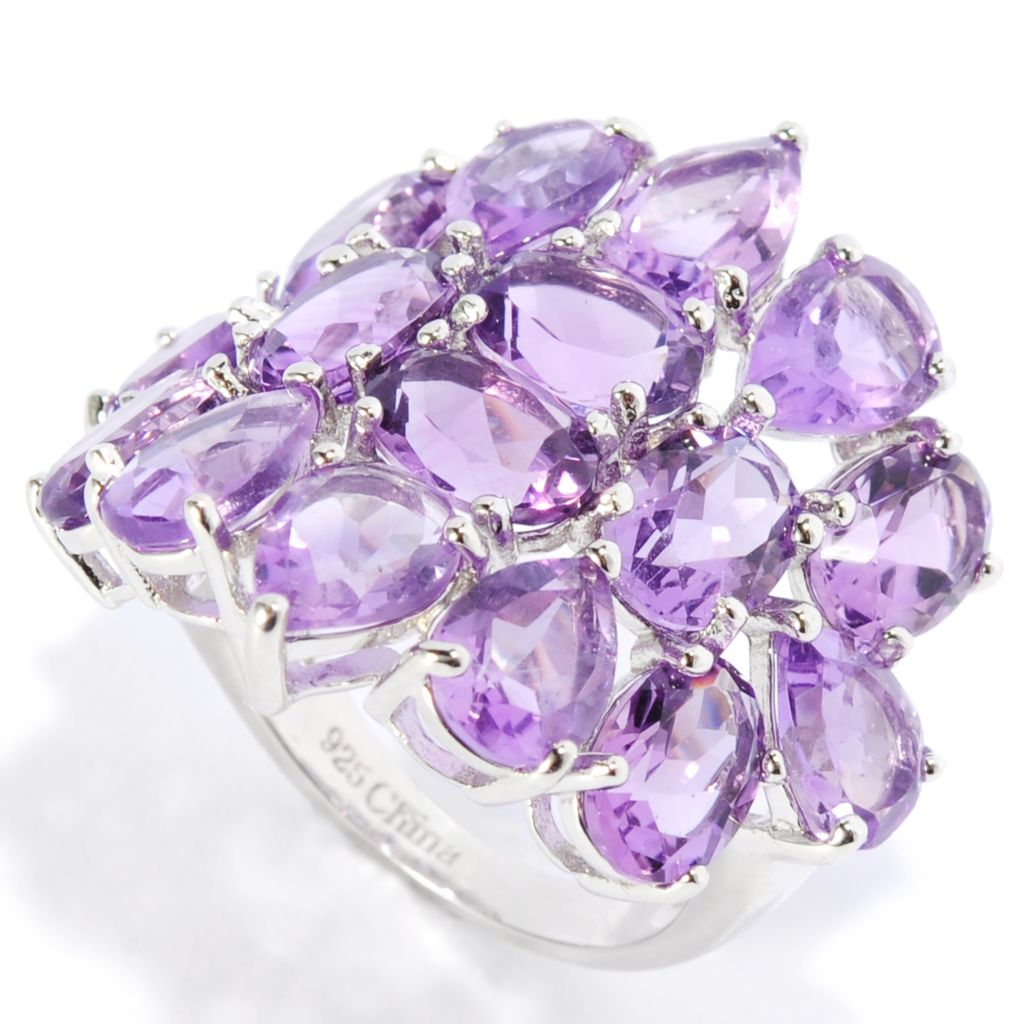 136-934 - Gem Insider Sterling Silver 9.84ctw Amethyst Cluster Wide Band Ring