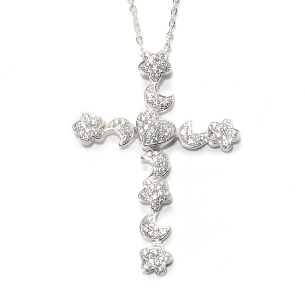 136-935 - Gem Treasures Sterling Silver White Zircon Multi Shape Cross Pendant w/ Chain