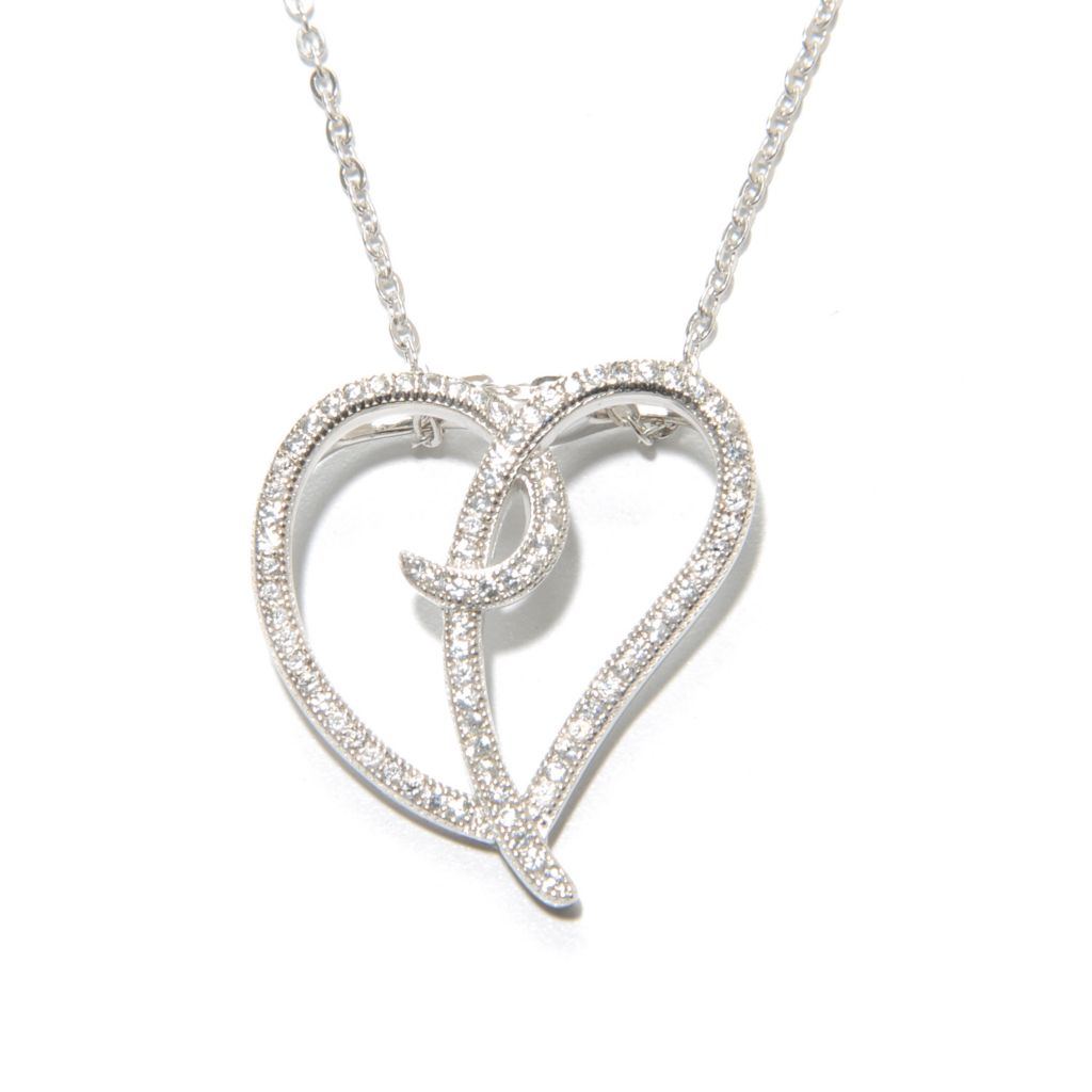 136-936 - Gem Treasures Sterling Silver White Zircon Heart Swirl Pendant w/ Chain