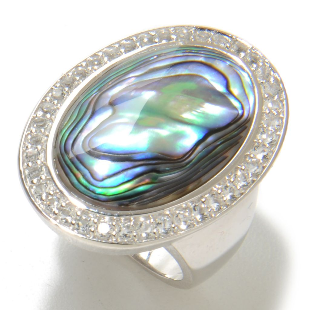 136-939 - Gem Insider Sterling Silver 22 x 15mm Abalone Shell & White Topaz Halo Ring