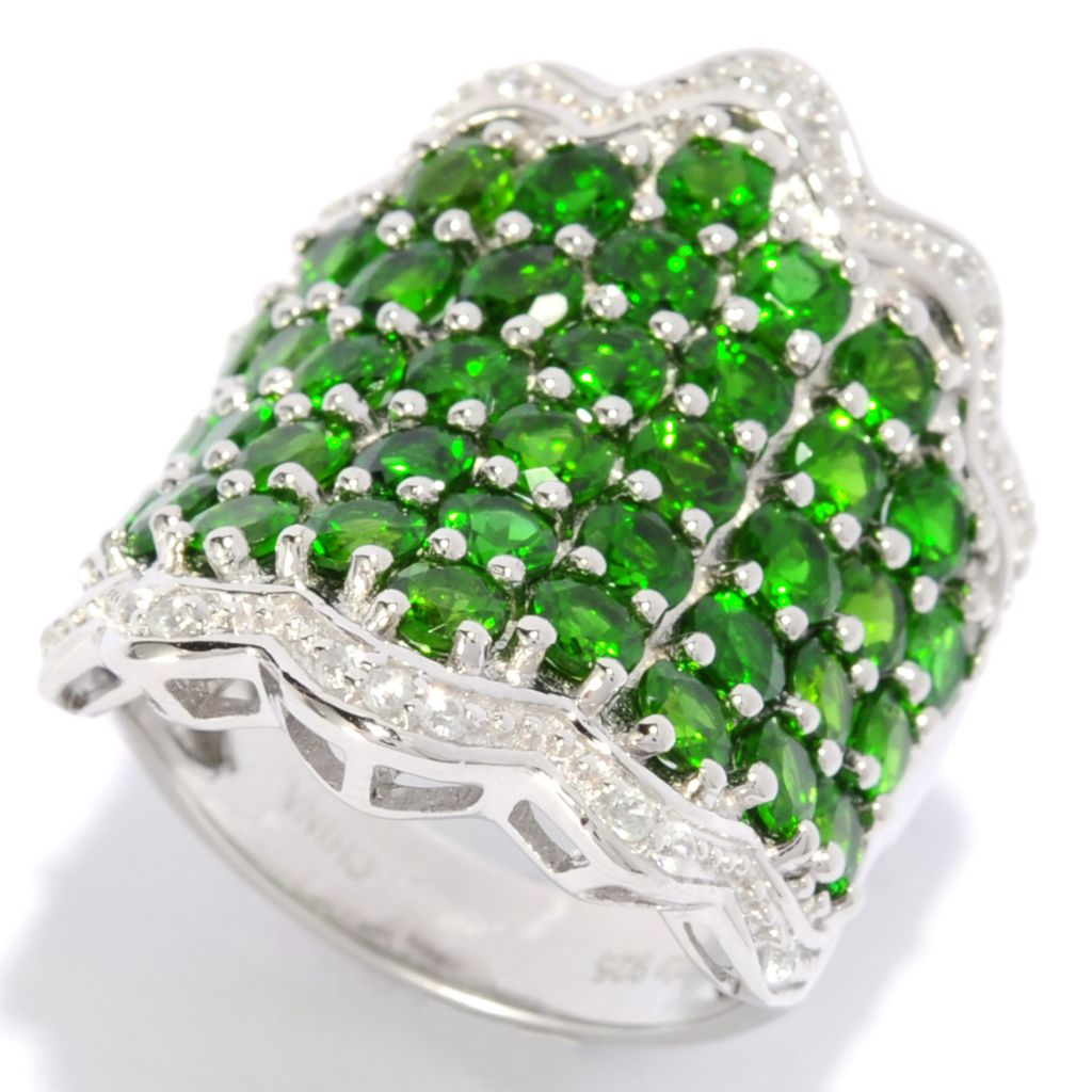 136-940 - Gem Treasures Sterling Silver 6.98ctw Gemstone & White Zircon Wavy Band Ring