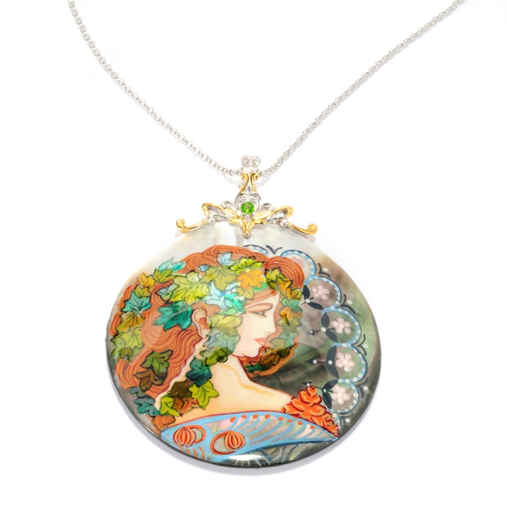 "136-941 - Gems en Vogue 60mm Hand-Painted Mother-of-Pearl ""Ivy Lady"" & Tsavorite Pendant w/ 18"" Chain"