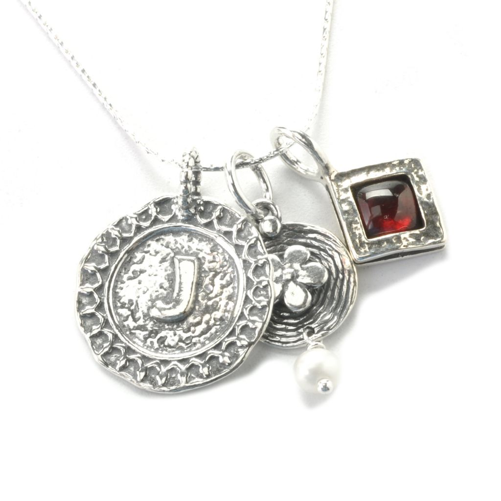 136-942 - Passage to Israel Sterling Silver Set of Three Gem & Initial Charm Pendants w/ Chain