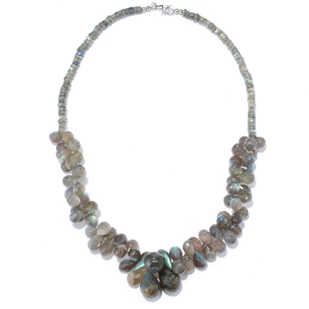 "136-943 - Gem Insider Sterling Silver 18"" 18 x 11mm Labradorite Beaded Cluster Necklace"