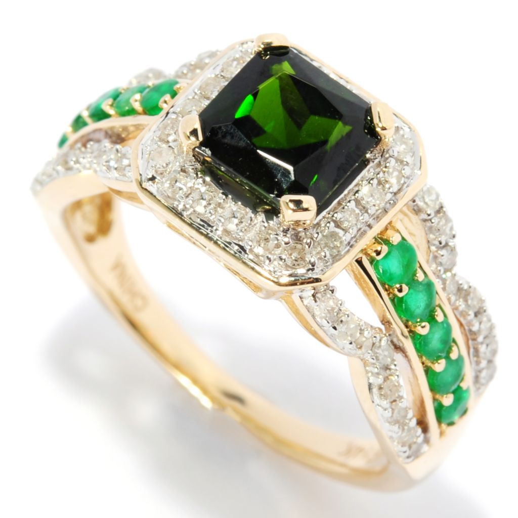 136-944 - Gem Treasures 14K Gold 1.46ctw Chrome Diopside, Emerald & Diamond Split Shank Ring