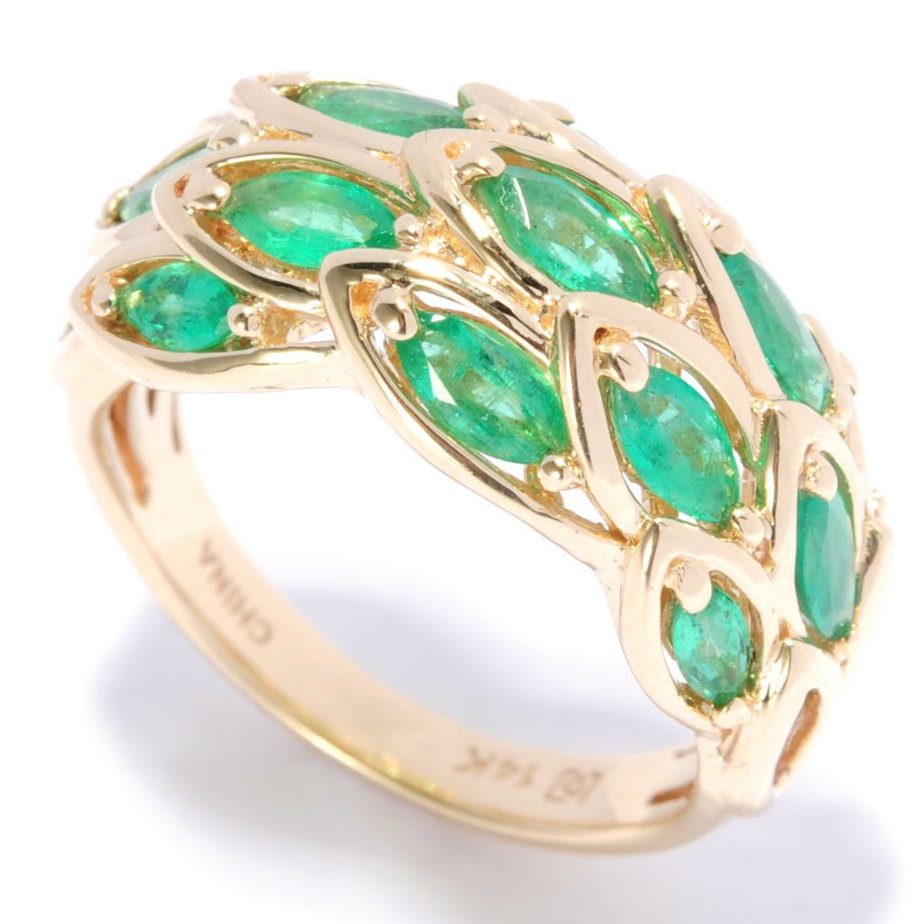 136-945 - Gem Treasures 14K Gold 1.23ctw Marquise Zambian Emerald Feathered Ring