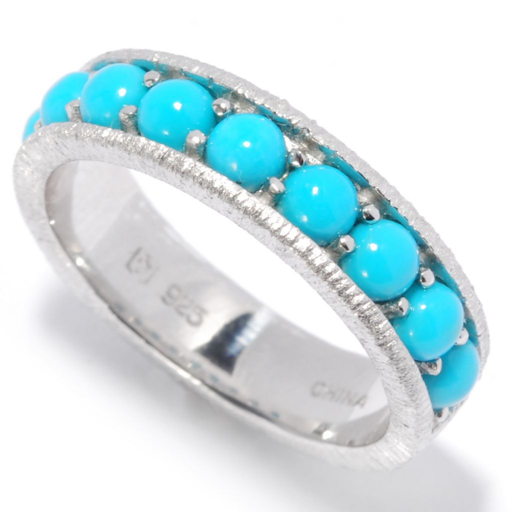 136-946 - Gem Insider Sterling Silver Sleeping Beauty Turquoise Brushed Band Ring
