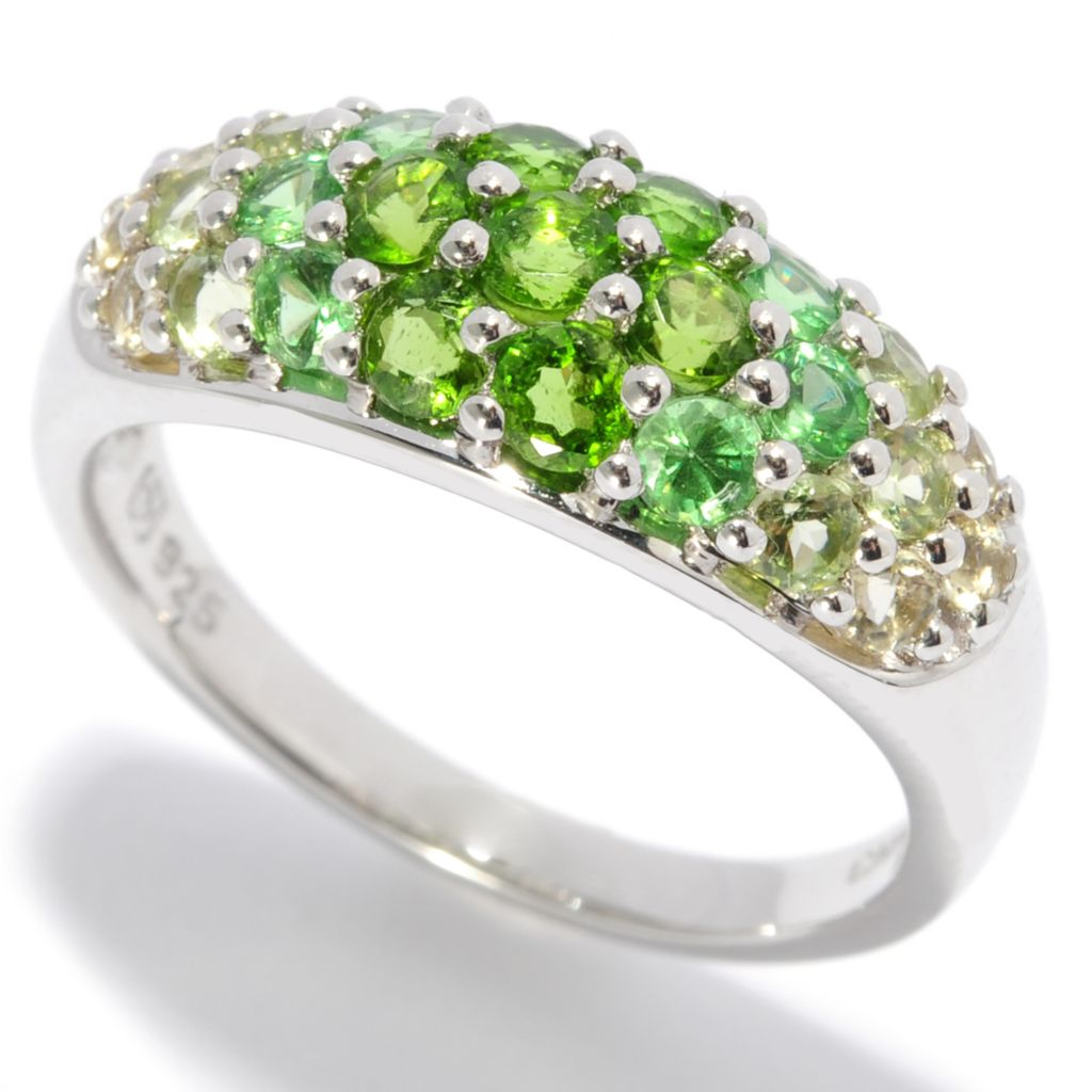 136-950 - Gem Insider Sterling Silver 1.00ctw Shades of Green Multi Gem Band Ring