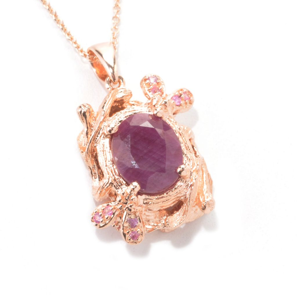 "136-971 - NYC II 11 x 9mm Opaque Ruby & Pink Sapphire Textured Garden Pendant w/ 18"" Chain"