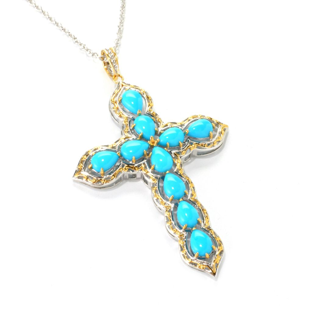 136-973 - Gems en Vogue II Pear Shaped Sleeping Beauty Turquoise Cross Pendant w/ Chain