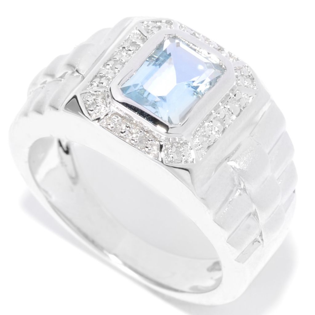 136-974 - NYC II Men's 1.56ctw Aquamarine & Diamond Halo Satin Finished Ring