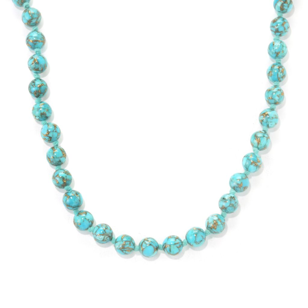 "136-975 - Gem Treasures 36"" 8mm Turquoise Bead Necklace"