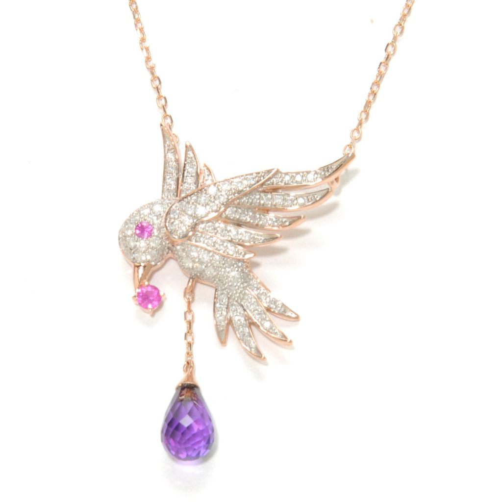 "136-978 - Beverly Hills Elegance 14K Rose Gold 18"" 4.57ctw Multi Gem Bird Necklace"