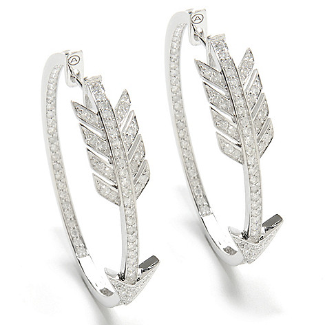 136-981 - Beverly Hills Elegance® 1.5'' 14K Gold 1.16ctw Diamond Arrow Hoop Earrings
