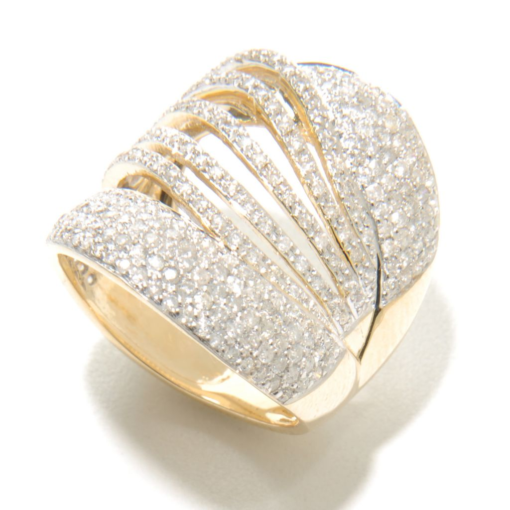 136-982 - Beverly Hills Elegance 14K Gold 1.50ctw Diamond Wide Cut-out Band Ring