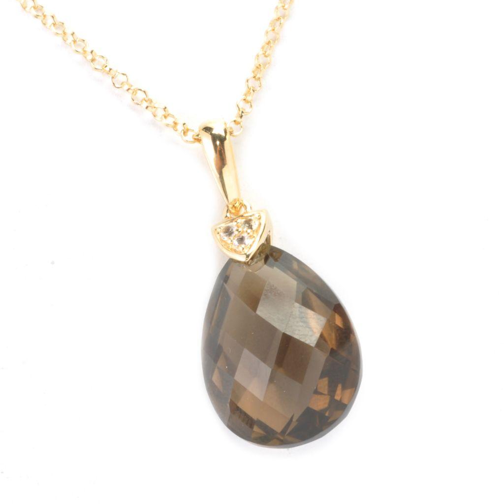 136-988 - Omar Torres 20 x 15mm Gemstone Briolette & White Sapphire Pendant w/ Chain