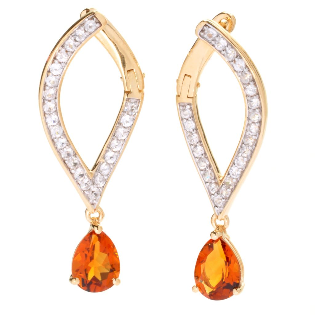 "136-991 - Omar Torres 1.5"" Pear Shaped Gemstone & White Zircon Drop Earrings"