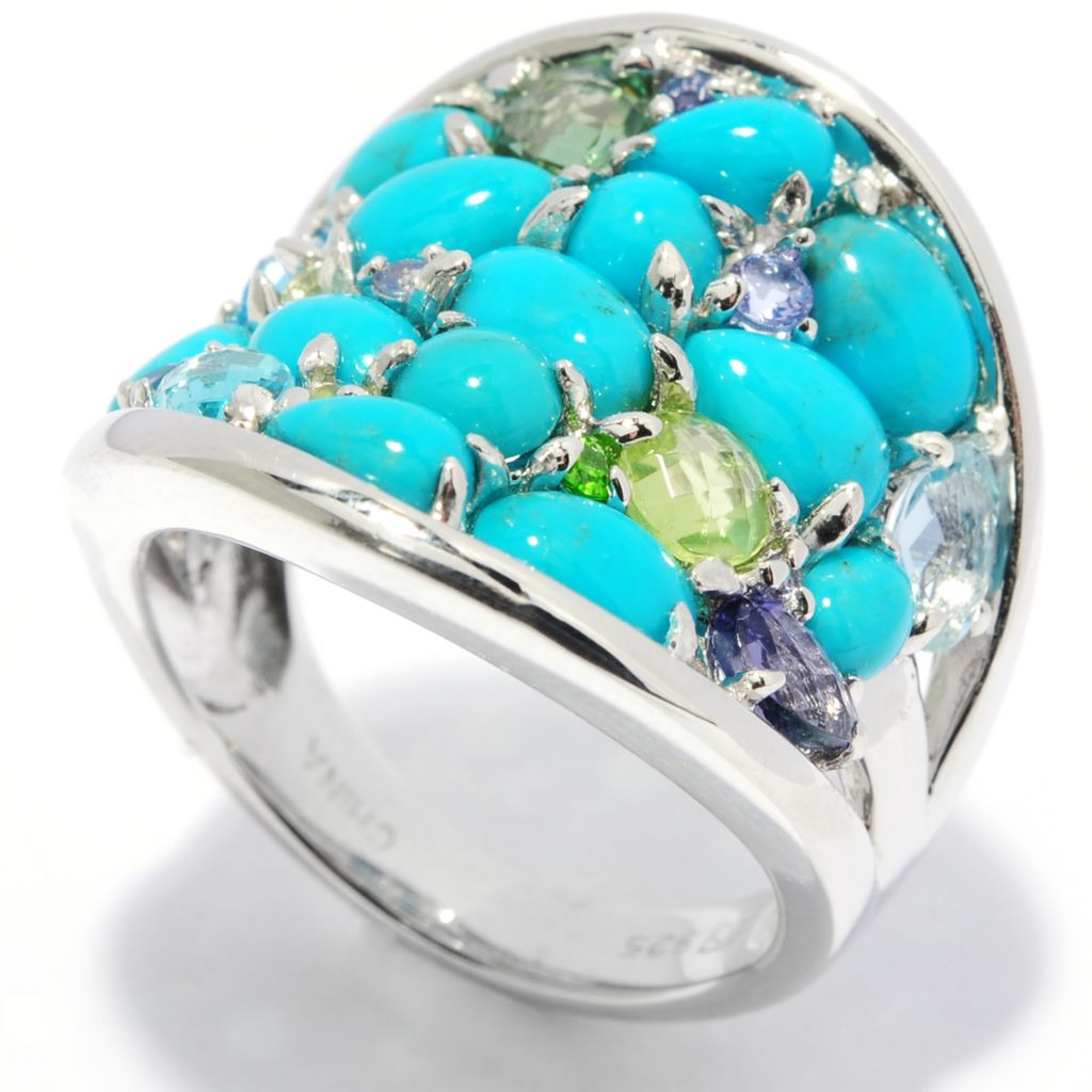 136-994 - Gem Insider Sterling Silver Turquoise & Multi Gemstone Wide Band Ring