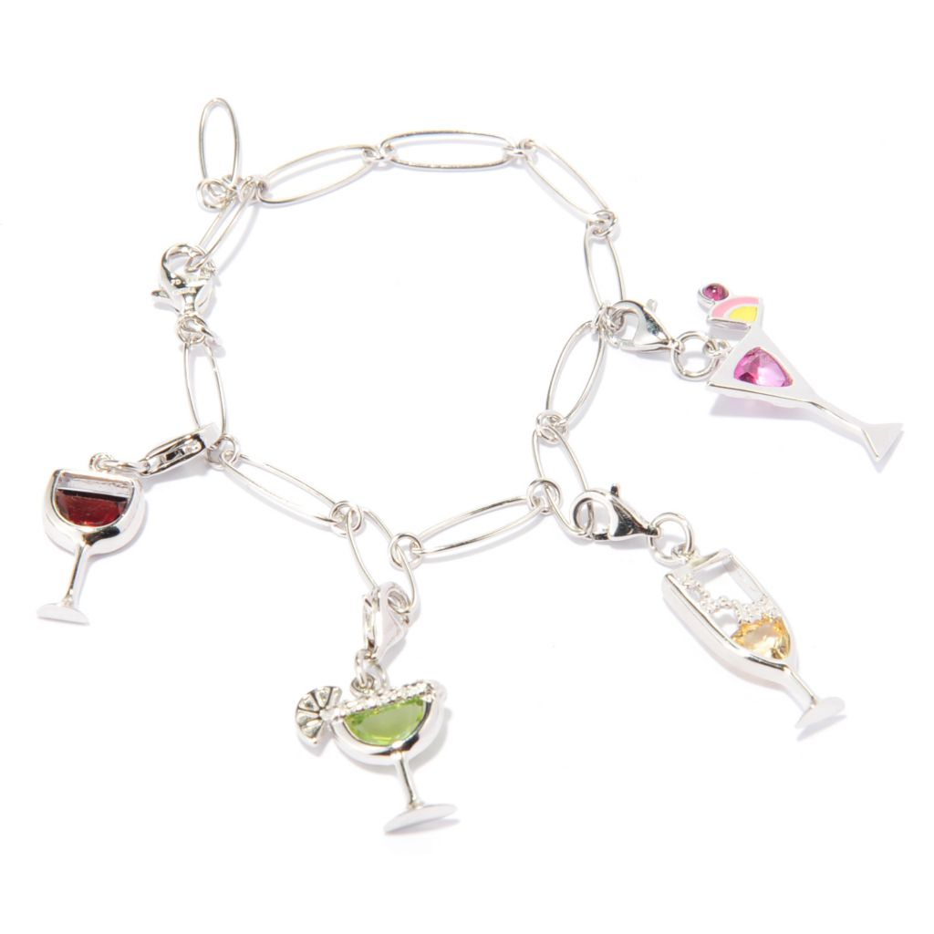 "136-999 - Gem Treasures Sterling Silver 7.5"" 3.16ctw Multi Gem Happy Hour Charm Bracelet"