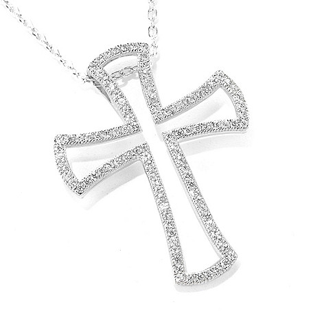 137-004 - Gem Treasures Sterling Silver White Zircon Open Cross Pendant w/ 18'' Chain