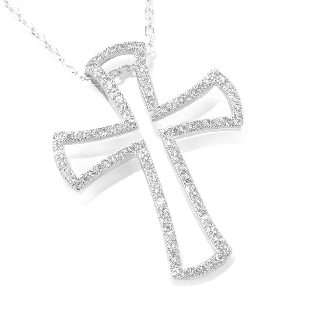 "137-004 - Gem Treasures Sterling Silver White Zircon Open Cross Pendant w/ 18"" Chain"