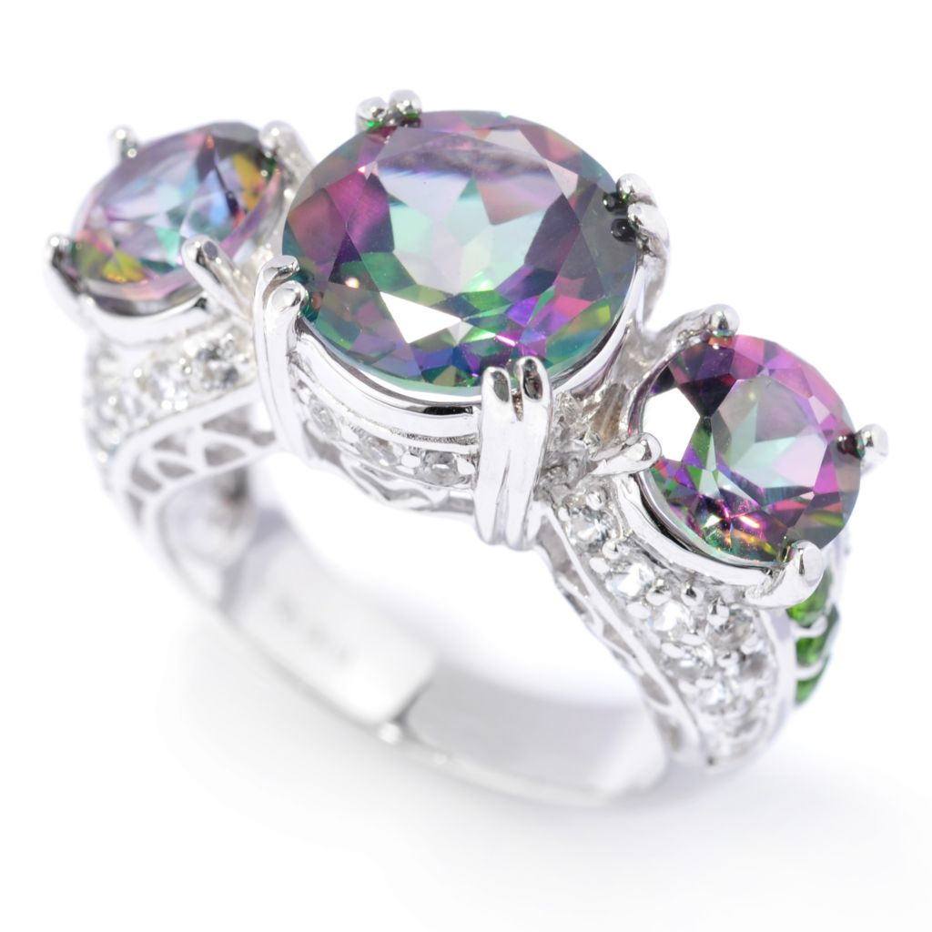 137-007 - Gem Treasures Sterling Silver 7.60ctw Mystic Topaz & Multi Gem Three-Stone Ring