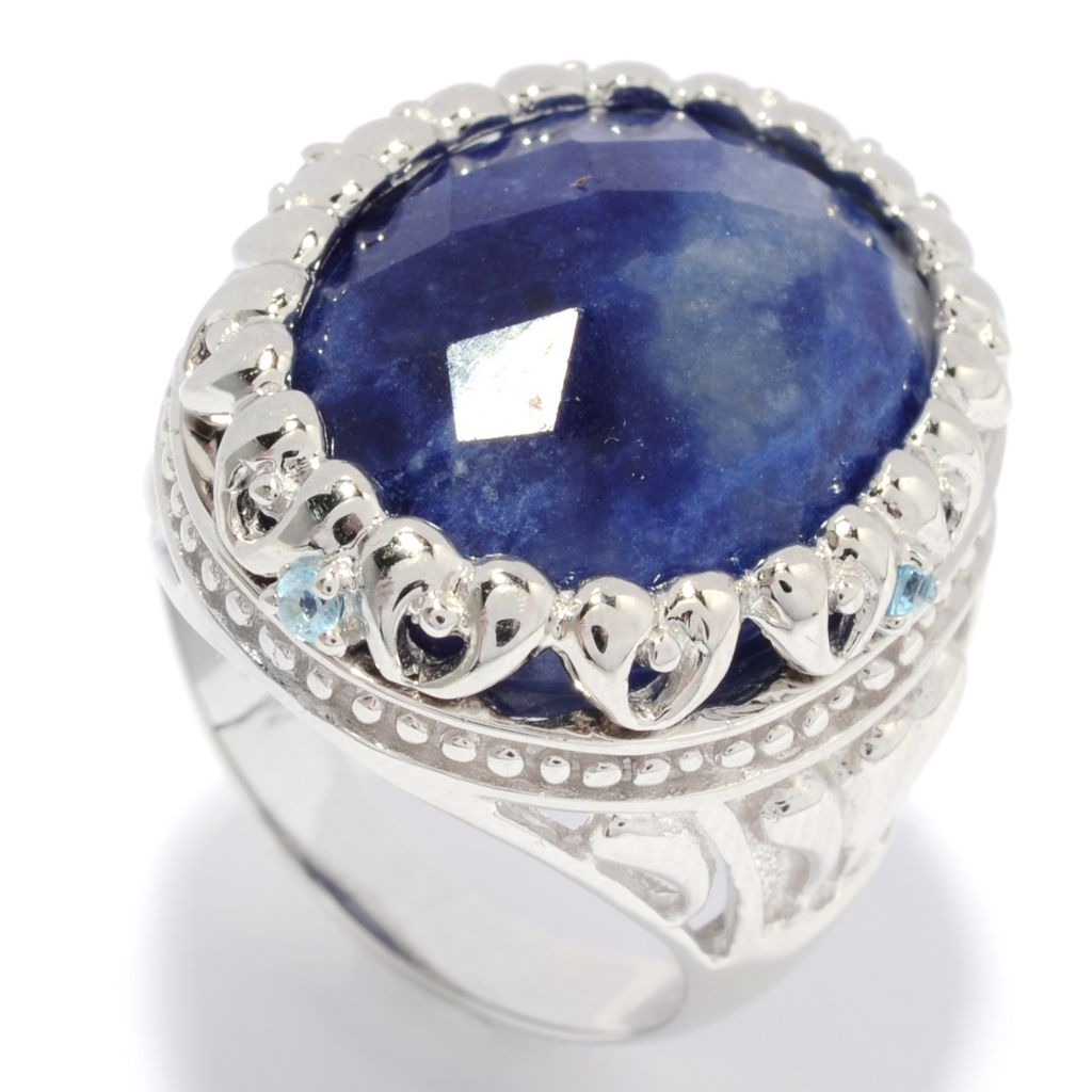 137-008 - Gem Insider Sterling Silver 20 x 15mm Sodalite & Swiss Blue Topaz Framed Scroll Ring