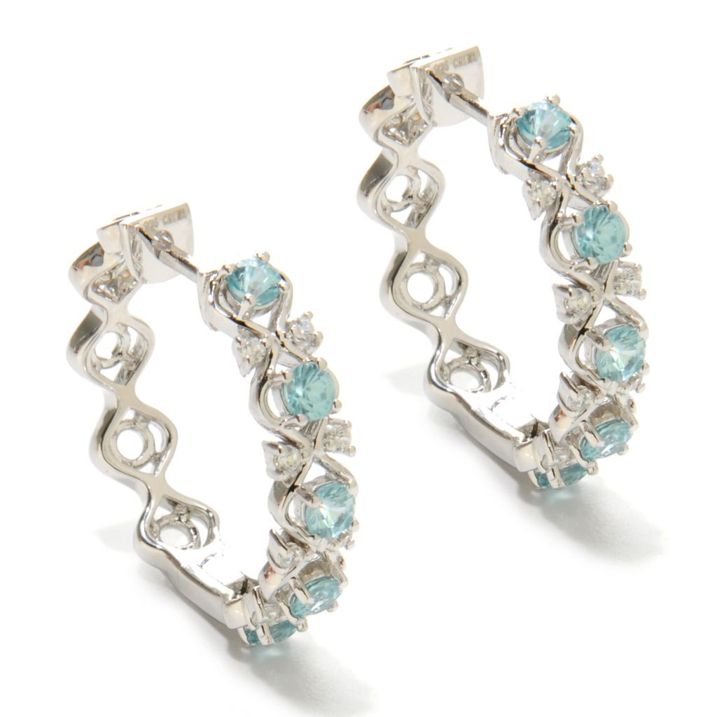 "137-009 - NYC II 1"" 2.06ctw Multi Zircon Openwork Hoop Earrings"