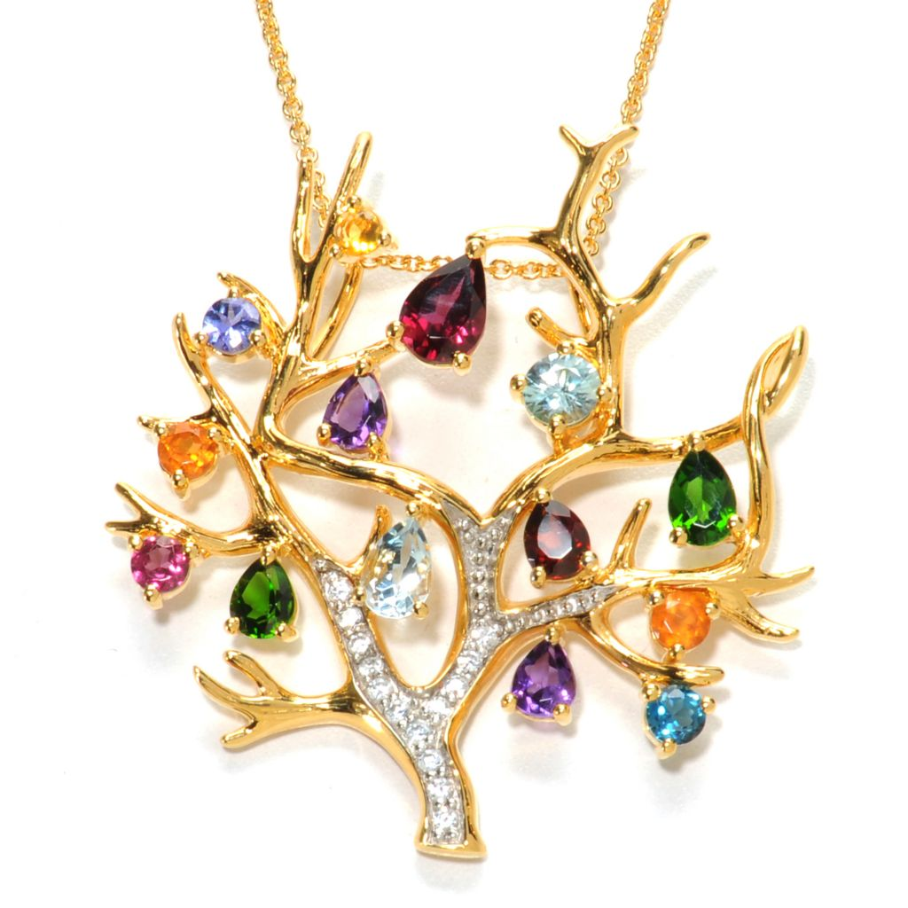 "137-010 - NYC II 4.66ctw Multi Gemstone Tree of Life Pendant w/ 18"" Chain"