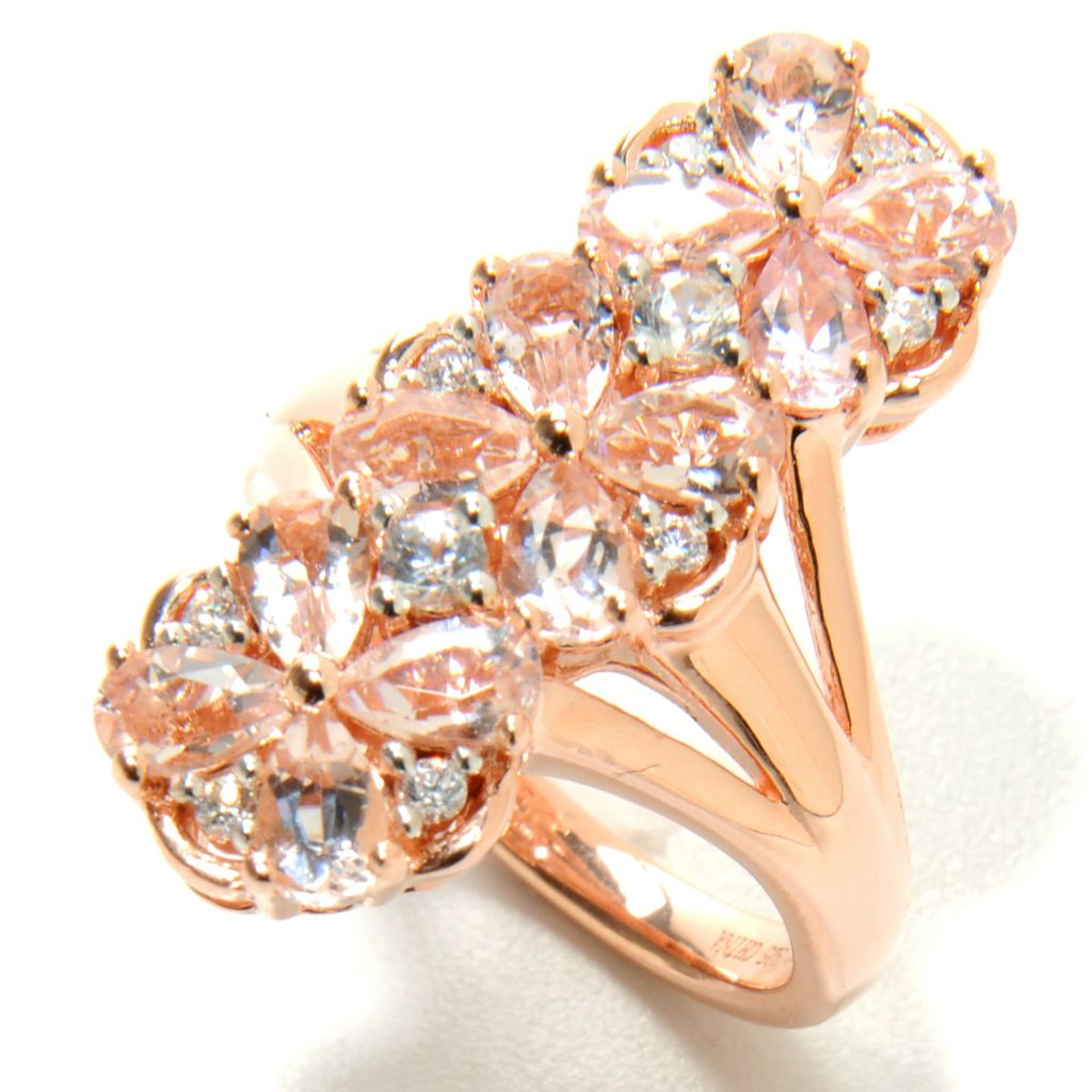 137-011 - NYC II 2.68ctw Morganite & White Zircon Elongated Flower Ring