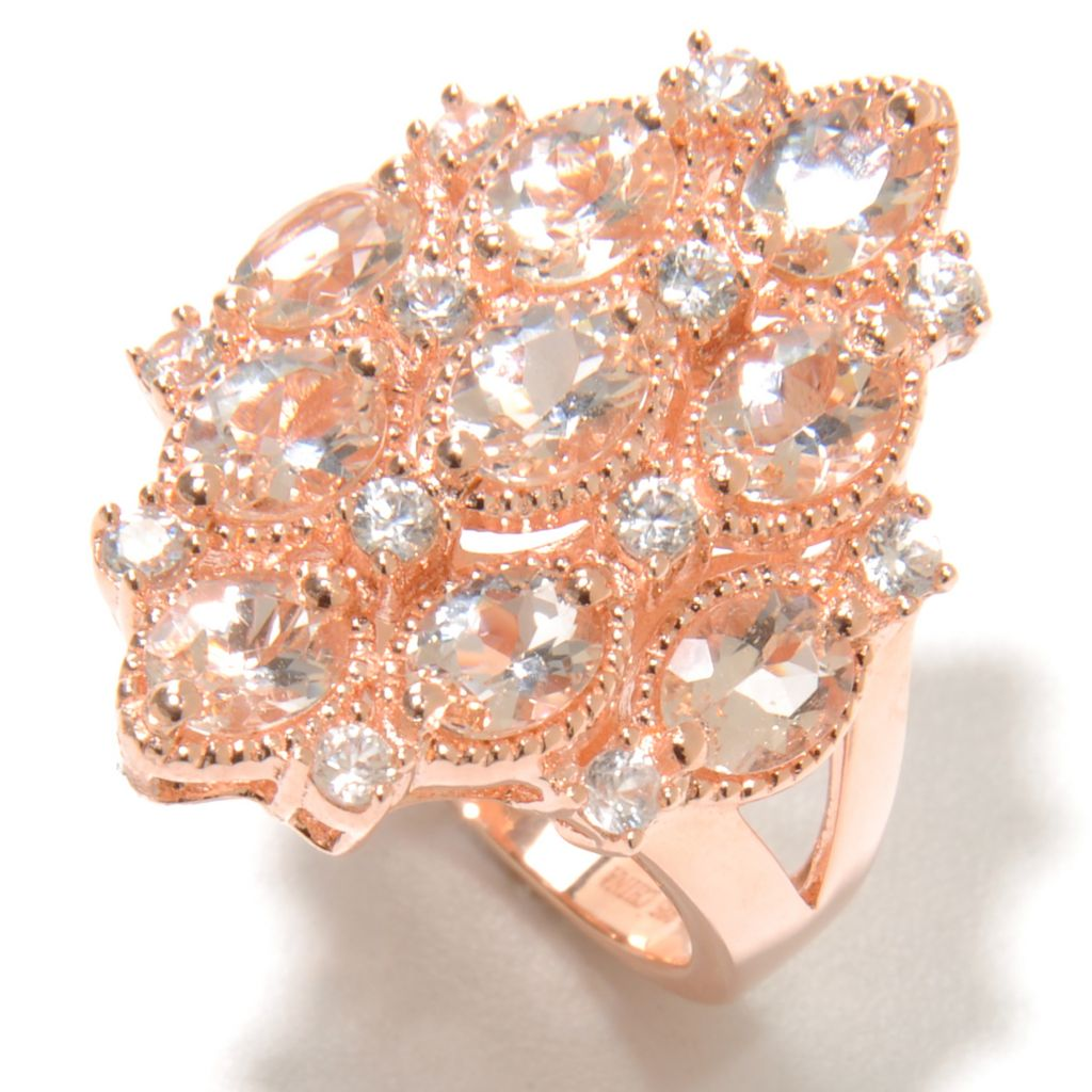 137-012 - NYC II 3.12ctw Morganite & White Zircon Marquise Shaped Ring
