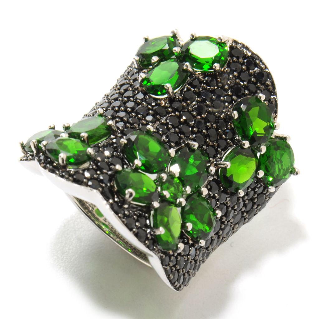 137-014 - NYC II 9.07ctw Chrome Diopside & Black Spinel Flower Wide Band Ring