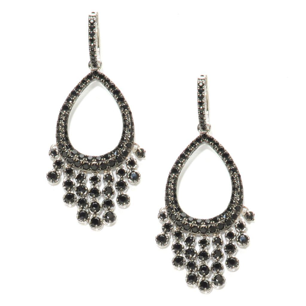 137-015 - NYC II 4.35ctw Black Spinel Teardrop Cut-out Dangle Earrings