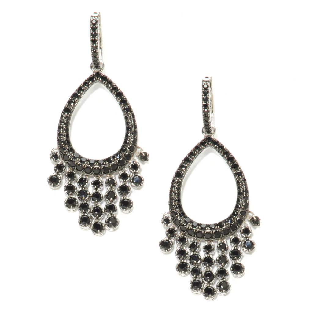 137-015 - NYC II 4.35ctw Black Spinel Teardrop Cut-out Dangle Earrings