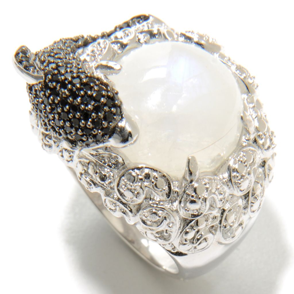 137-018 - NYC II 13mm Moonstone, Black Spinel & White Zircon Dolphin Ring