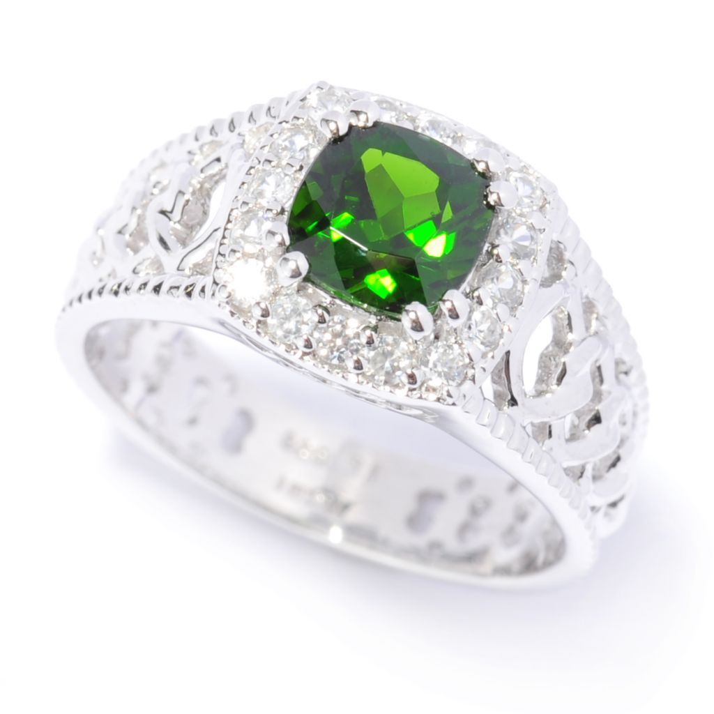 137-024 - Gem Treasures Sterling Silver 1.45ctw Chrome Diopside & White Zircon Halo Ring