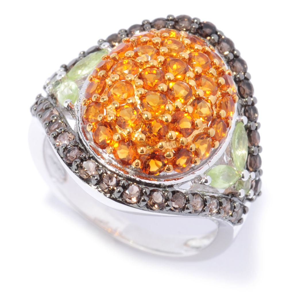 137-028 - Gem Treasures Sterling Silver 2.78ctw Citrine, Smoky Quartz & Peridot Dome Ring