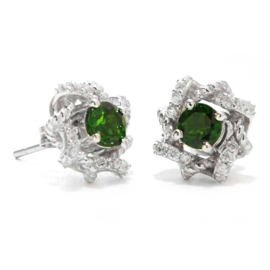 137-029 - Gem Treasures Sterling Silver 1.26ctw Chrome Diopside & White Zircon Earrings