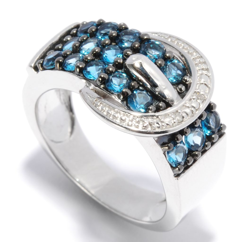 137-030 - Gem Treasures Sterling Silver 1.25ctw Diamond & London Blue Topaz Buckle Ring
