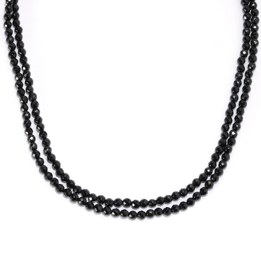 "137-032 - Gem Treasures Sterling Silver 36"" Faceted Black Onyx Bead Necklace"