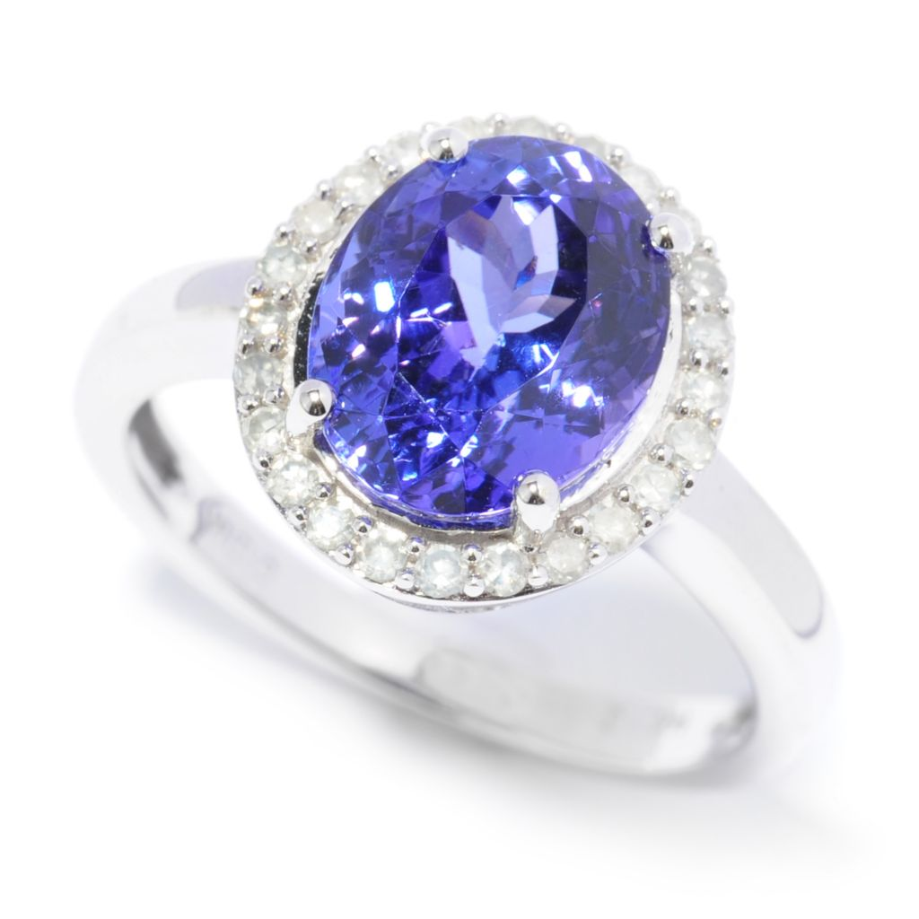 137-033 - Gem Treasures 14K White Gold 2.73ctw Tanzanite & Diamond Halo Ring