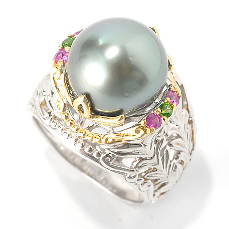 137-037 - Gems en Vogue II 11.5-12.5mm Cultured South Sea Pearl & Multi Gemstone Ring