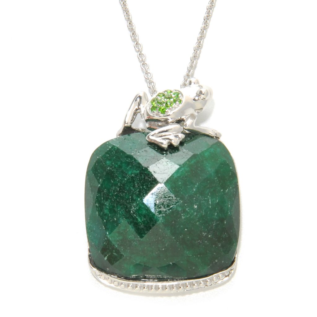 "137-044 - NYC II 23.5 x 22mm Dyed Green Sapphire & Chrome Diopside Frog Pendant w/ 18"" Chain"