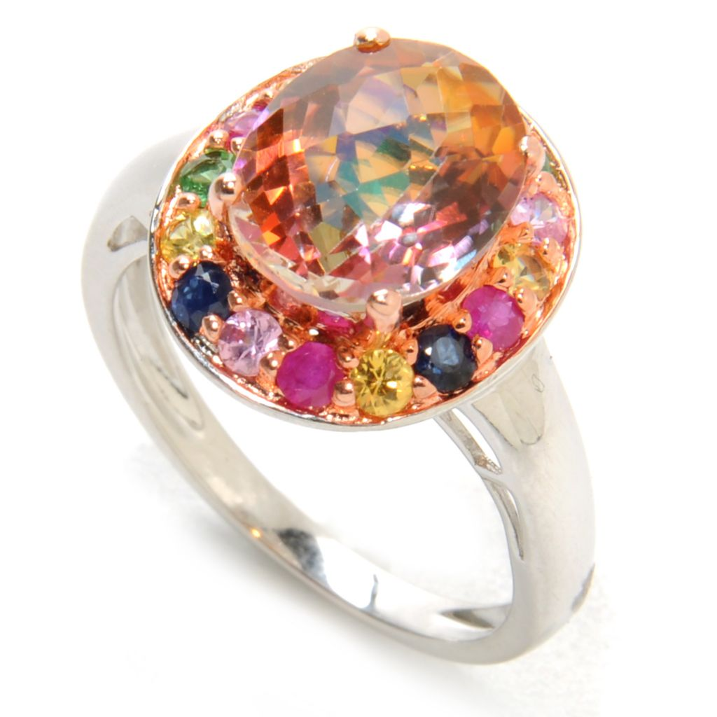 137-046 - Gem Treasures Sterling Silver 3.81ctw Sunset Topaz & Multi Gem Halo Ring
